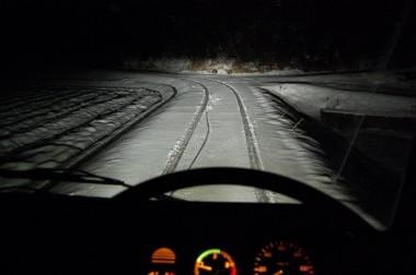 20:41 ノーマルタイヤで雪の千代田に到着