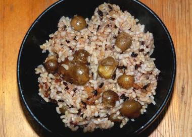ムカゴ、古代米の玄米、ベースはミルキークイーン玄米