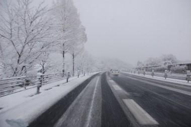 広島の自宅出発時は中国道も雪