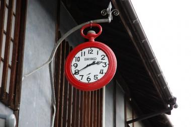 御手洗の町並み保存地域の時計屋さんの看板