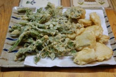 タラの芽、よもぎ、タケノコの天ぷら