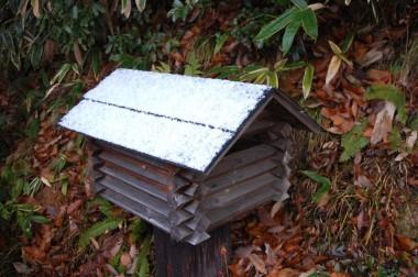 ポストの屋根は白いペンキを塗った様に