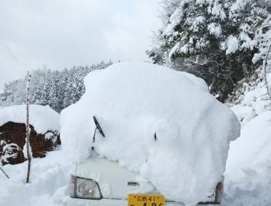 軽トラに積もった雪