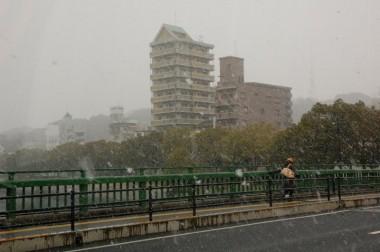 千代田は降っていなかったが市内R2は雪になった