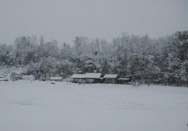 25cmの積雪でした、朝の雪が降っている時