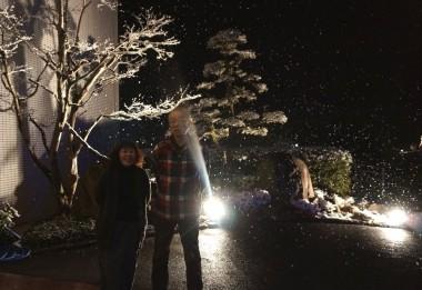 ホテルの玄関に出たら雪が舞っていた
