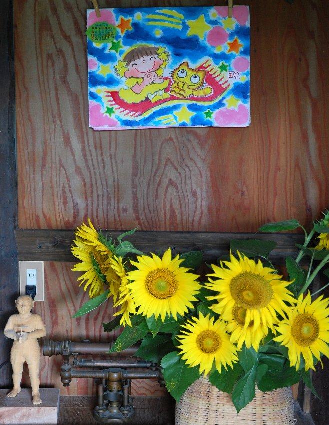 玲子カレンダーと英絵が持ち帰った向日葵