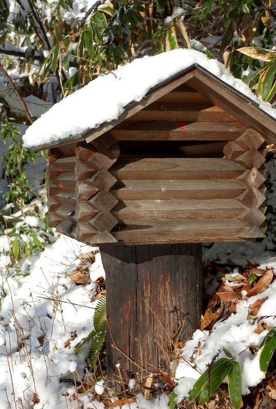ログポストの屋根にも雪