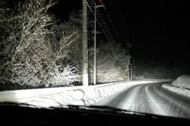自宅近くの千代田トンネルを抜けると雪です