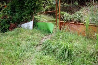 緑色のトタンを押し破って侵入