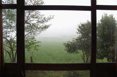 部屋から朝霧を見る