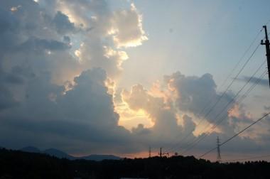 田んぼから見た夕日