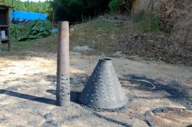 ①火を焚く部分と煙突部