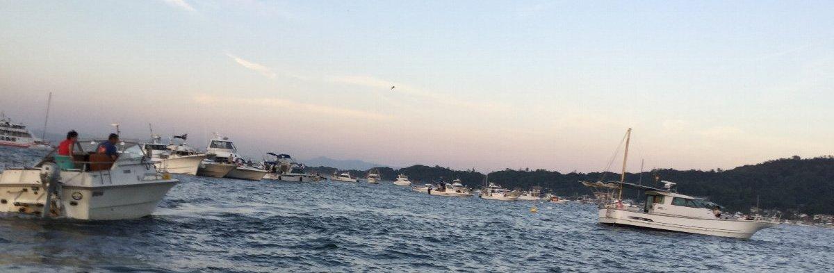 宮島の大鳥居から西の方にかけて見物船がいっぱい!