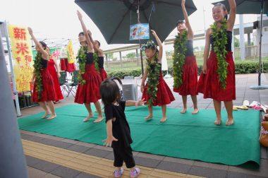 フラの時だけ雨が止み、子供が飛入りで踊っていた