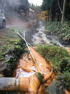 道路の横に温泉源があった、手を浸けたら温い!