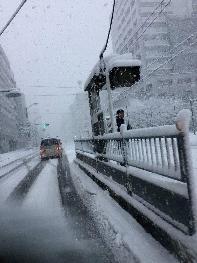広島市内では珍しい積雪