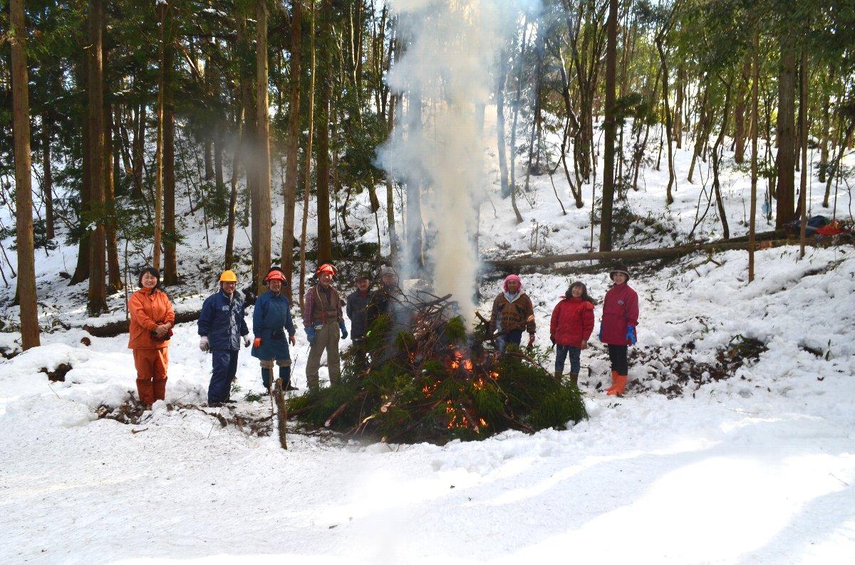 とんど じゃぁありません、倒した杉の枝葉を燃やして暖をとります