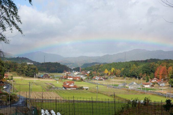 準備会場から見えた虹