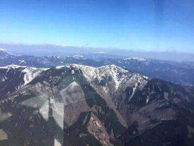中国山地に沿って広島の格納庫から兵庫県の福知山までフライト