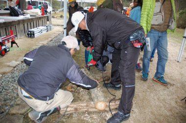 椎茸の原木に菌を打ち込む穴を開ける