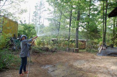 仮工事で水が出るのを確認