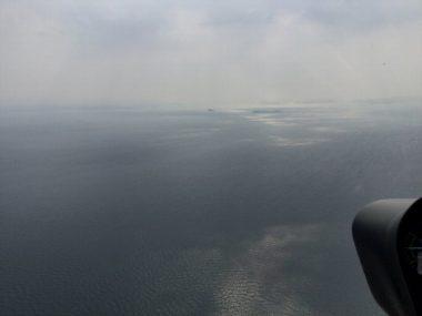 瀬戸内海の小島が目標通過地点