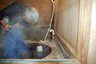 五右衛門風呂ではガンガンと焚く