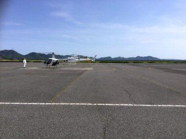 整備場のすぐ前は駐機場