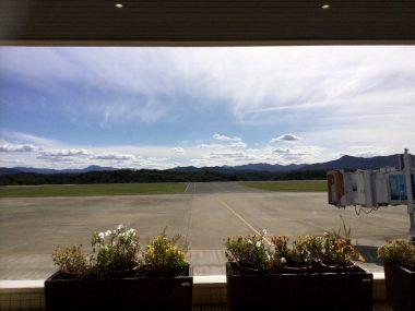 石見空港レストランから駐機場を